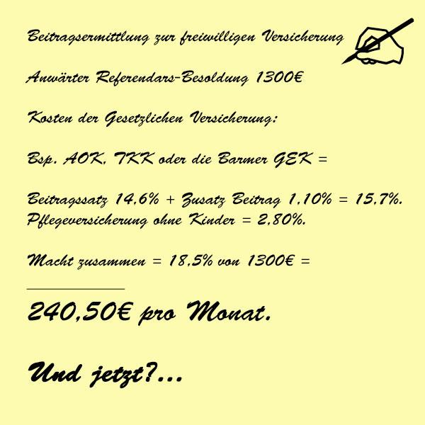 Berechnung Anwärter Referendarskosten in der Gesetzlichen Kasse #Beamtenservice